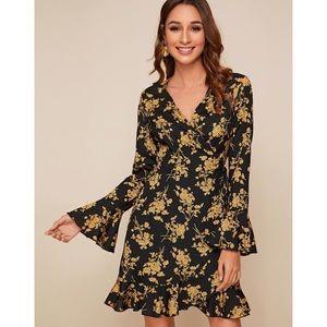 Shein Floral Bell Sleeve Dress